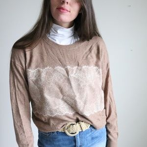 J. Crew lace print brown sweater -C4